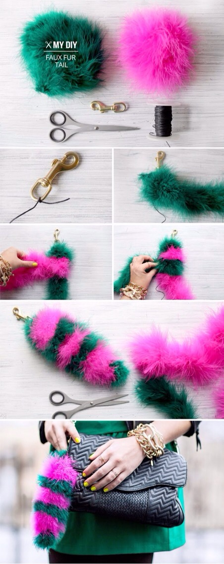 Then knot the green around both the cord and the pink boa. Repeat till reach your desired length Include the cord in your final knot, pull tight and trim the end of the boas. Clip onto your favorite bag.