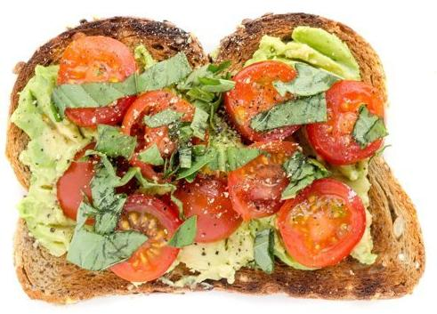 The Vegan and Vegetarian  For those who want to go without meat and dairy, don't fret because here's the toast for you. Add tomatoes (sundried or fresh), chopped basil leaves and pepper. Add pesto if you want to go that extra mile.