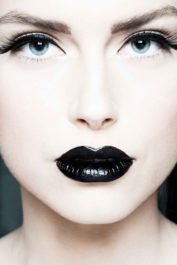 First, the lips! Make them a black color or you could just do the top lip black!💄