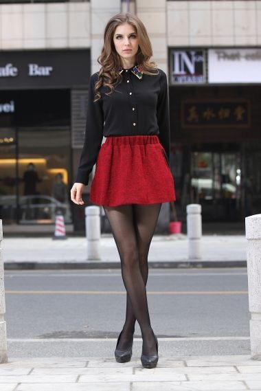 Items: 1.) Black Long Sleeved Collared Sheer Top 2.) Red Skirt 3.) Black Tights 4.) Black heels