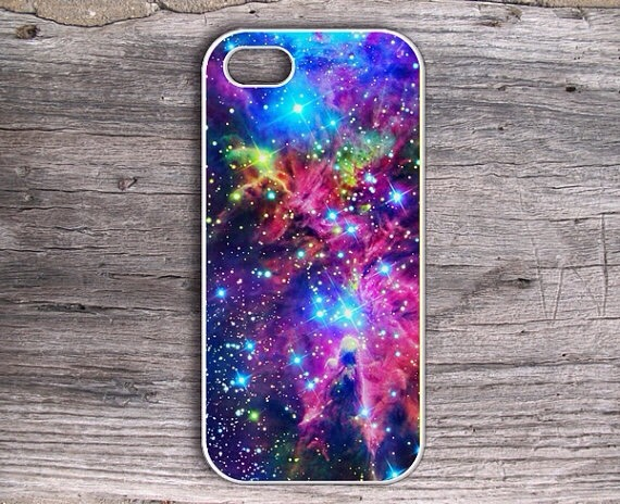 Buy a basic case and some - wait for it - nail polish! What a great way to use up some of that old nail polish, right? Use a cut up sponge for blending, a white paint pen for some gleaming stars, and that's it! Super easy, huh?