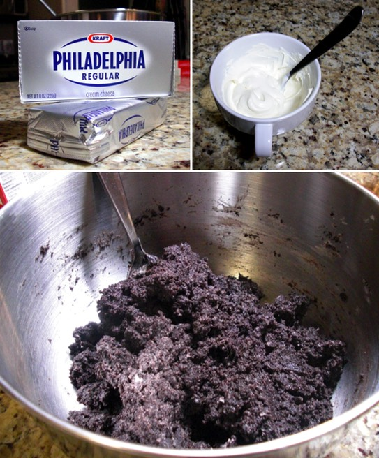 Step 2: Add in 4oz of Cream Cheese to the crushed Oreos and mix with your hands until the cream cheese is combined and it forms a dough-like consistancy  (Make sure the cream cheese is softened at room temperature)