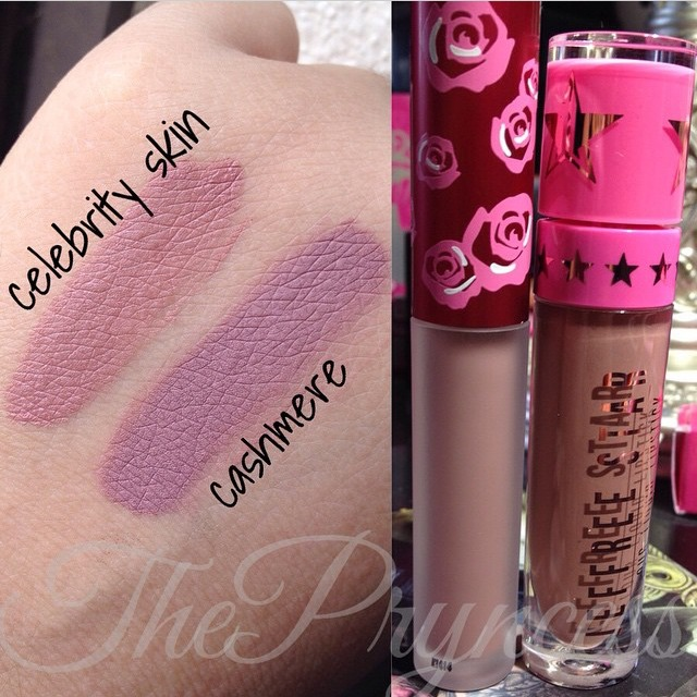 Jeffree Star Cosmetics' liquid lipstick in Celebrity Skin is more of a dusty rose color but still very similar. This range of liquid lipsticks has been said to last way longer than the Velvetines and smell/apply better so I would recommend this shade over Cashmere just for those reasons!