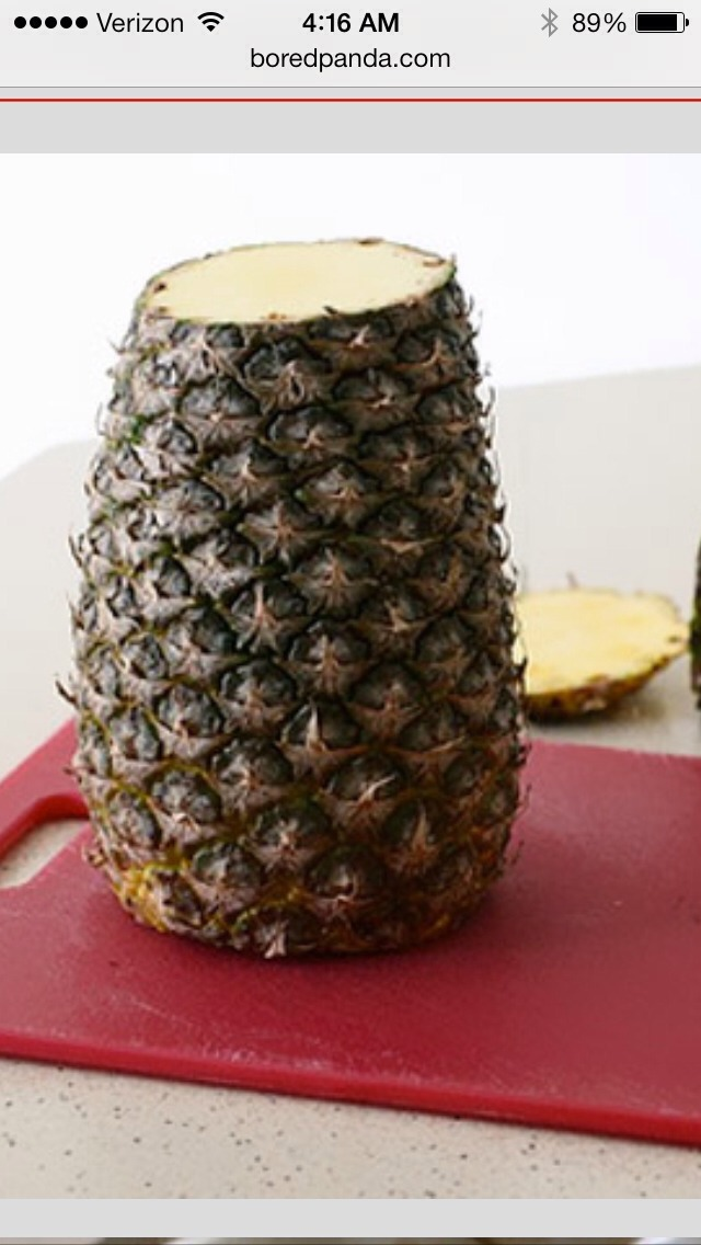 Cut all rind off pineapple