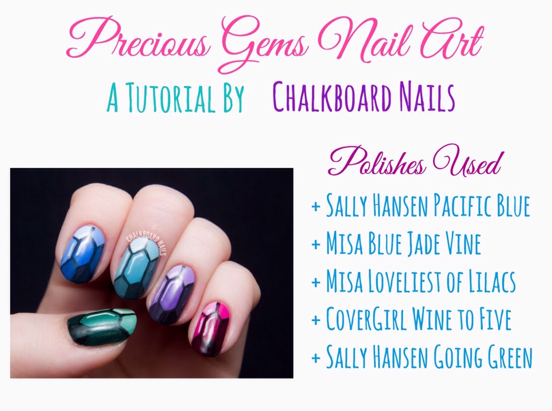 For details Instructions on how to create this nail design, VISIT Chalkboard Nails HERE |http://www.chalkboardnails.com/2014/04/precious-gems-nail-art-tutorial.html?m=1