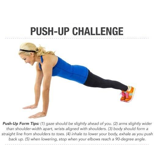 Day 2: The Push-Up Challenge  The push-up is a classic workout. Why mess with something that has always shown results? Follow the tips below and see how many pushups you can do!