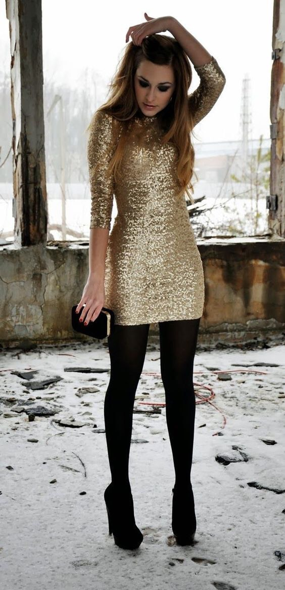 Items:  1.) Gold Sequin Tight Fitted Dress 2.) Black Tights 3.) Black Heeled Boots