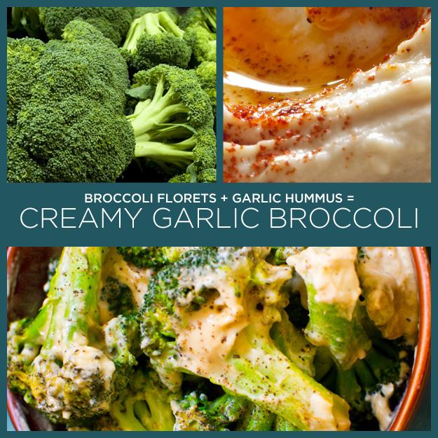16. Broccoli Florets + Garlic Hummus = Creamy Garlic Broccoli