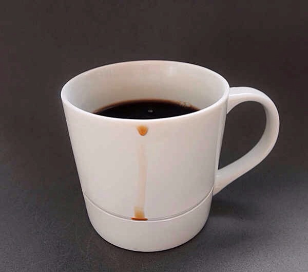 10. An insanely simple design for a coffee cup that catches all the drips.