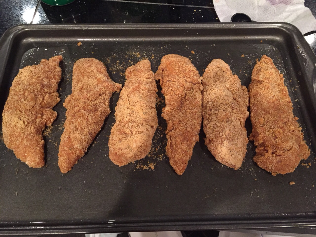 Finished breaded chicken