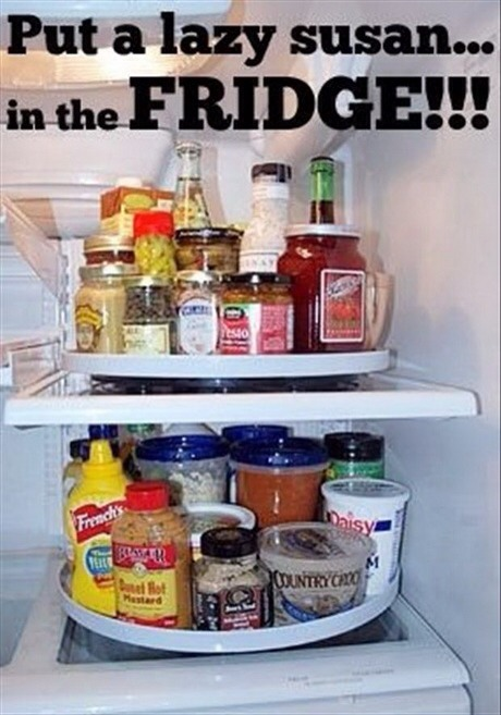 Makes for easy access to the stuff that usually gets lost in the back of the fridge.  Thanks for looking. Please don't forget to like and follow. Click my profile pic to see all my tips.