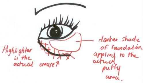 4. Disguising Under Eye Bags Most of us tend to just sweep a layer of concealer to the entire under eye area, but to really conceal bags, it's best to highlight the crease and then apply a darker shade to the actual puffy area.