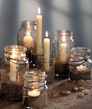 Jars   Sand   Tealight/motive candles = Beautiful candle display!