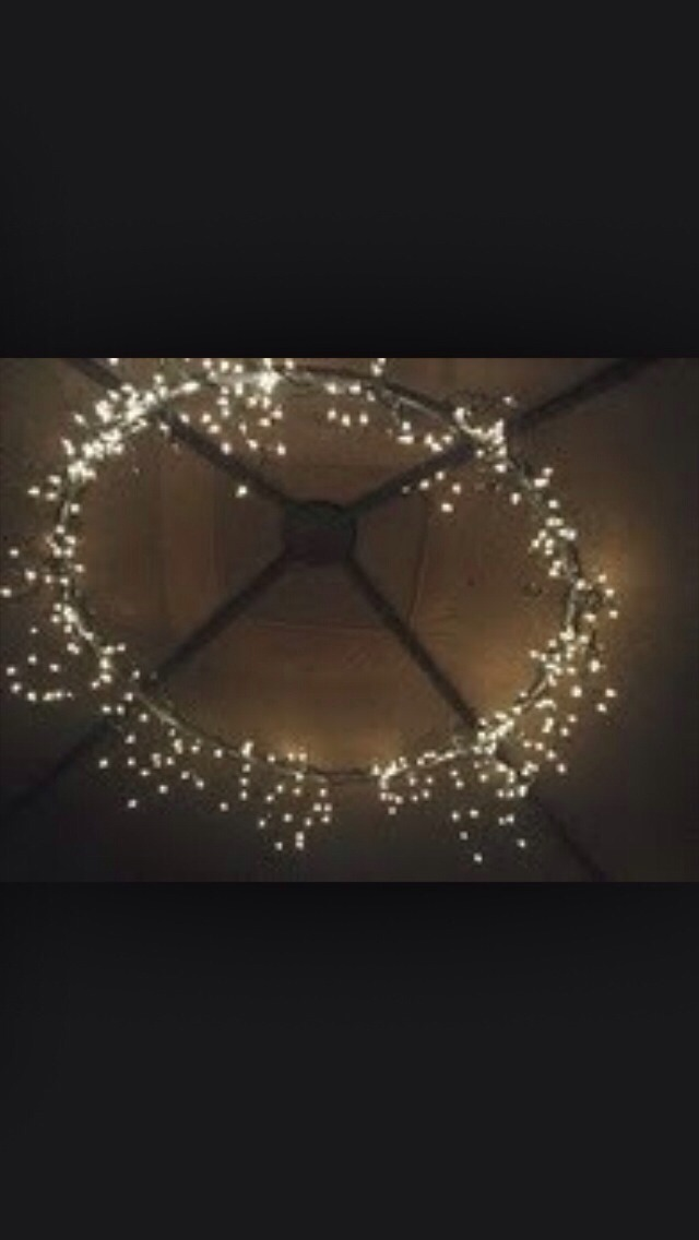 Spray Paint An Old Hoola Hoop And Then Attach Some Out Door Fairy Lights Put
