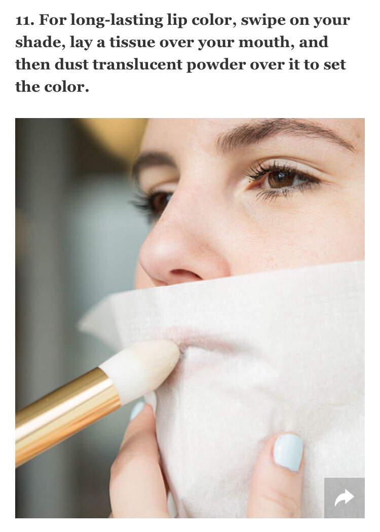 This process may seem extensive, but the payoff is worth it. Not only does the translucent powder set a bold shade, making it instantly long-wearing, but the tissue acts as a shield to your lip color, protecting it from lightening or losing it's vibrancy.