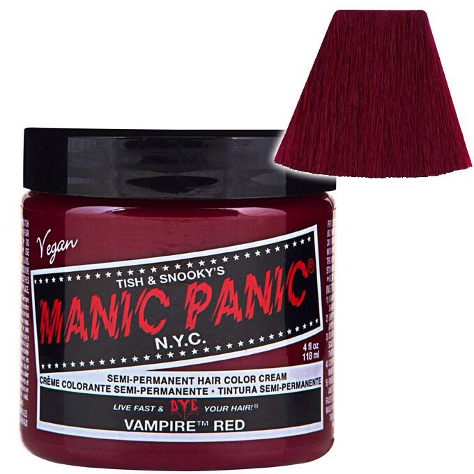 Then add 1 teaspoon of Manic Panic brand, vampire red into that bowl of conditioner. You gotta mix it very well.