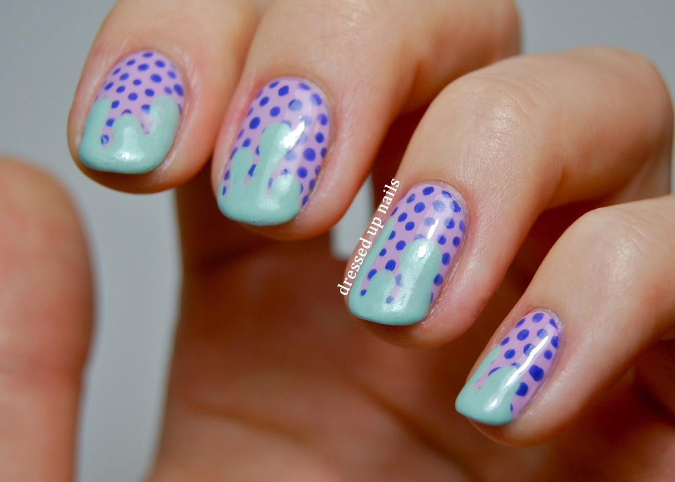 Or paint purple then put blue dots then add with a Bobby pin for a smudged teal/mint green look.