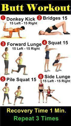 donkey kicks do 15 on the right and left leg each and do 5 bridges and you do this everyday three times with one minuet rest. your butt will toned and firmed in  weeks time. it works for me