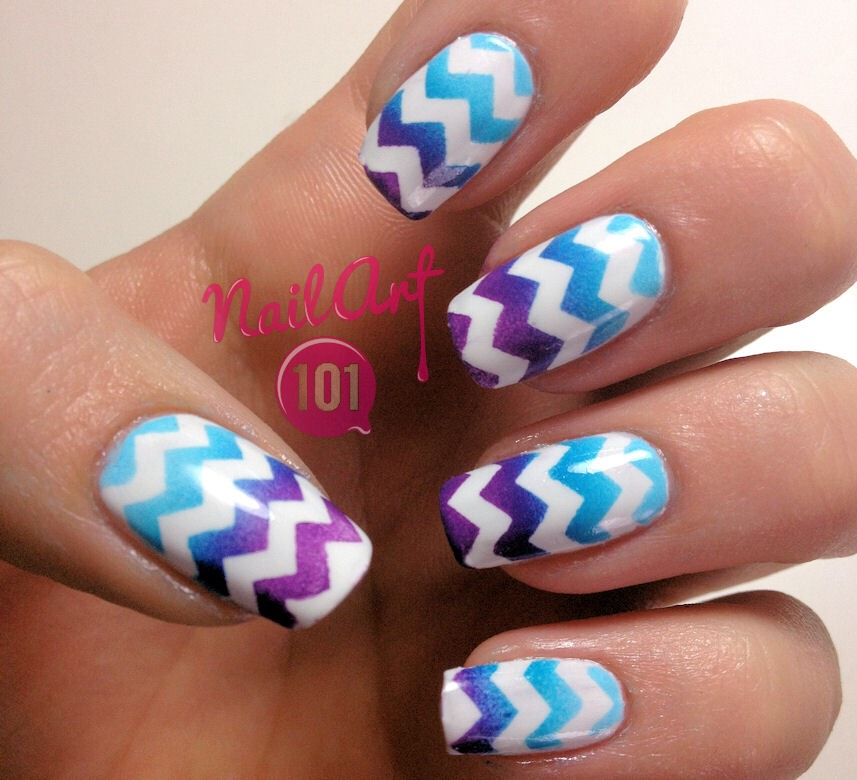 Chevron nails Not much to create this look :) Paint your nails a base color Using nail stickers or even tape place then one after another leaving space in between and paint over them. Or you can draw them on yourself:)