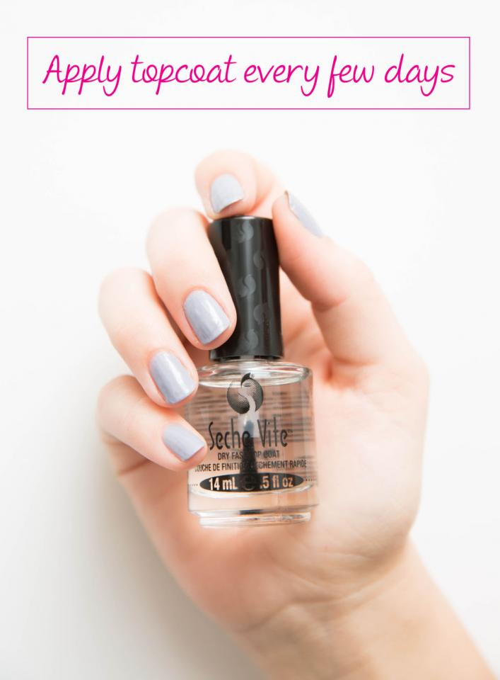 10. Reapply a layer of clear topcoat every two to three days to prevent chipping and enhance shine.