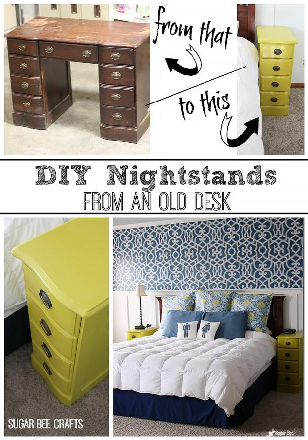 Night Stands From A Desk  http://www.sugarbeecrafts.com/2011/09/nightstands-from-desk.html