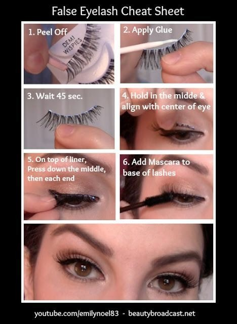 30. False Eyelash 101 If you've ever attempted this beauty-aid, you know that it can be quite trying! But, false eye lashes can bring your look from drab to fab in just a few patient minutes, and is definitely worth the time for special occasions. The key is knowing how to apply them.