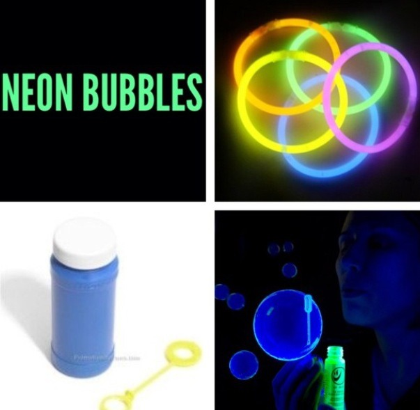 If you want your children to have extra fun get a bubble bottle and break a glow stick in half and pour it in the bubble and shake it well and when you blow bubbles they will be neon color