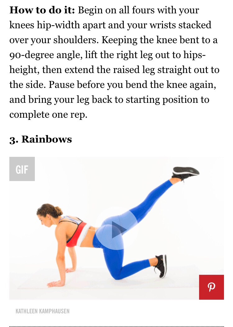 similar to donkey kick but instead do a circular motions JUST LIKE A RAINBOW ! 25 and 25 each leg