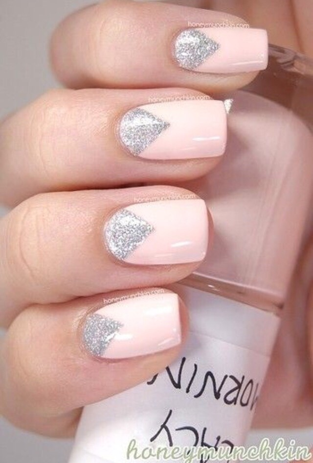 4. SPARKLED REVERSE FRENCH MANICURE