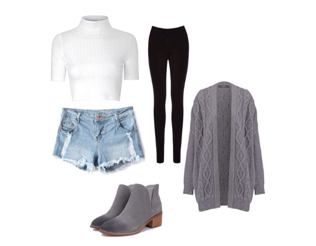 Number 7- fitted top, shorts, cardigan, boots