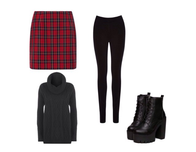 Number 10- fitted skirt, baggy jumper, ankle boots