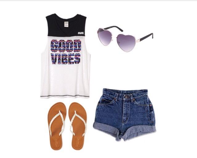 Shirt - Victoriassecret.com  Shorts - etsy.com  Shoes - Aeropostale.com  Sunglasses - Charlotterusse.com