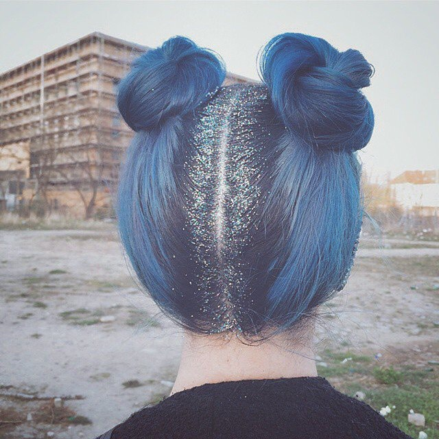 1. Blue Chalk Pastel hairstyle with Buns