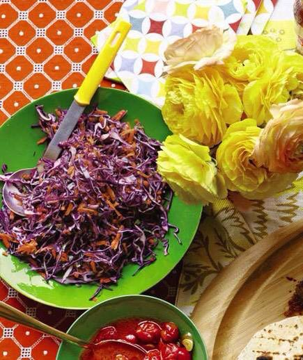 Tangy Red Cabbage Slaw You can prep this slaw (without the cilantro) up to a day in advance.   http://www.realsimple.com/food-recipes/browse-all-recipes/tangy-red-cabbage-slaw-recipe-00000000034985/index.html
