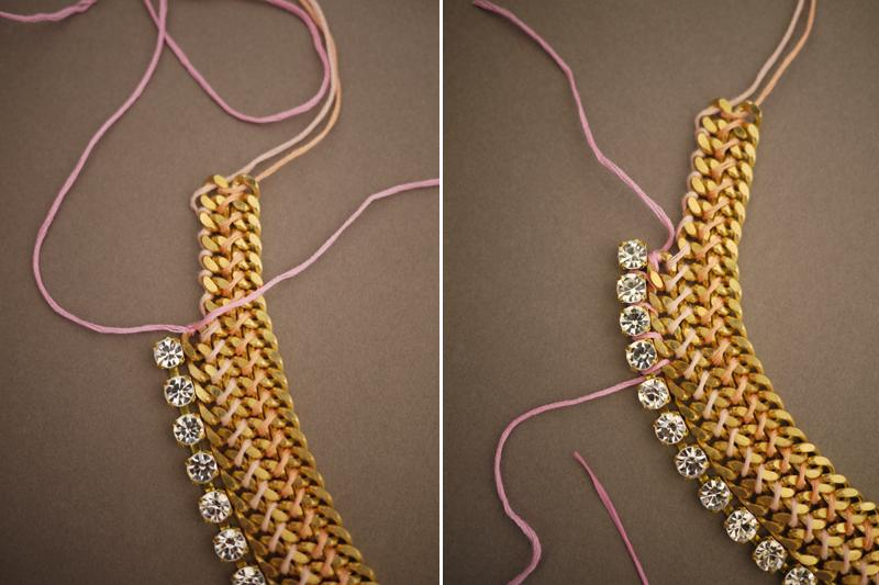 Tie a knot onto the chain. Start wrapping the rhinestones onto the chain but going under the first joint of the rhinestone chain and over the top of the first curb chain link.