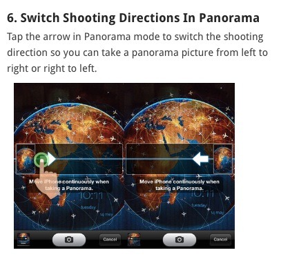 Change shooting directions for a panorama. Tap the arrow in panorama mode to switch the shooting direction