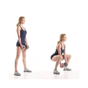 DEADLIFT: bringing the weight to the floor (lowing from the hips, NOT the arms/shoulders), and using the legs to bring it back up. Begin by reaching the hips back and leaning forward slightly to bring the weight down (BACK STRAIGHT), until there's a 90 degree angle is in the knees, then stand up.