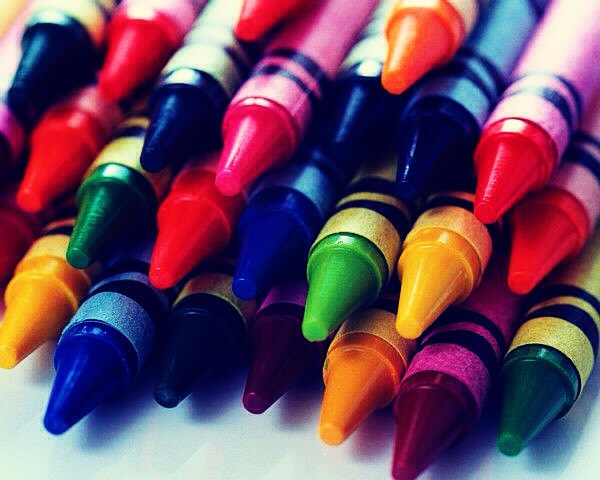 Choose 3-5 crayons  Peel paper off crayons and arrange them in preferred order from top to bottom