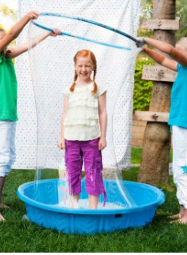 3.) BUBBLE BATH!! Fill a baby pool with a bunch of bubbles! Then get a hola hoop and watch your kids have a blast!