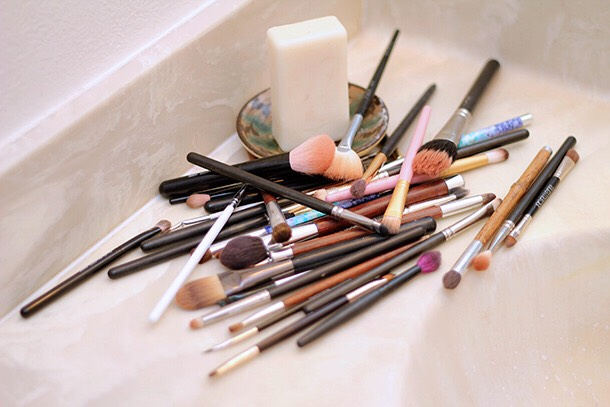 Go ahead and grab all your make-up brushes sponges, etc..