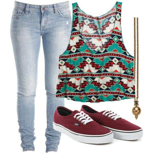 a cute crop top with jeans and maroon colored shoes from shopforfun.com and polyvore