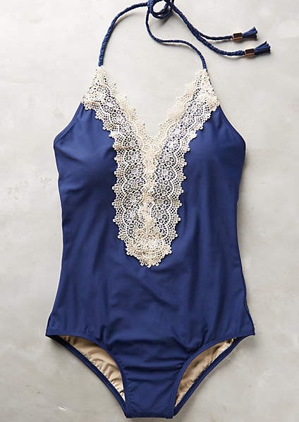 Lace-front maillot in navy