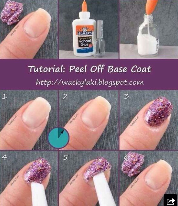 Use Elmer's glue as a base coat, the manicure will peel off neatly and can last up to a week!