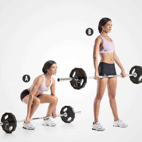 Barbell Deadlift: Complete 10 reps