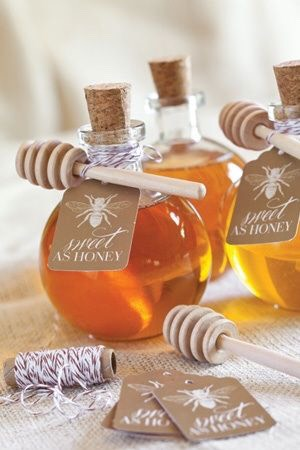 Small jars of honey for a little boost in sweetness for guests