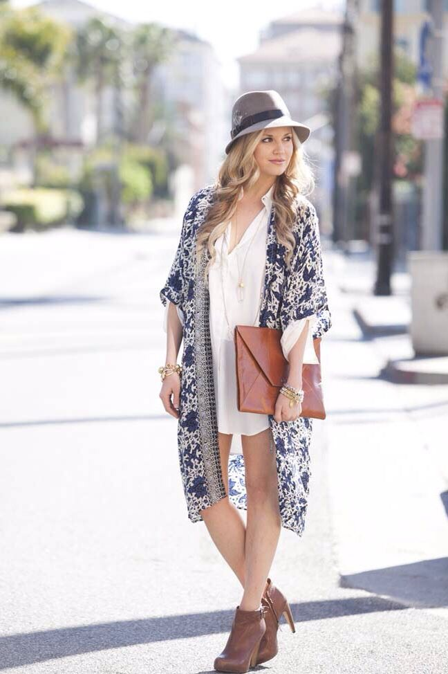 Long sleeved dresses and Kimonos that hit right above the knee!! (Cover up those flabby arms while still feeling cool and fresh)