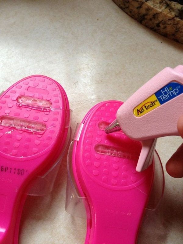 Use a glue gun on the soles of shoes for extra grip to prevent slipping.