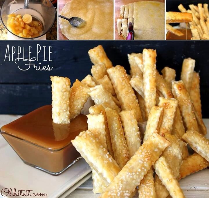 """What you'll need for 25-30 Apple Pie Fries: 1 Package of Pillsbury Refrigerated pie Crust (2 ct.) Approx. 1.5 cups of Apple Pie Filling 1 Egg Sparkle Sugar for sprinkling..a.k.a. """"Salt"""" Caramel Sauce and/or Ice Cream for dipping A food processor..optional! A decorative edge roll-cutter..optional!"""