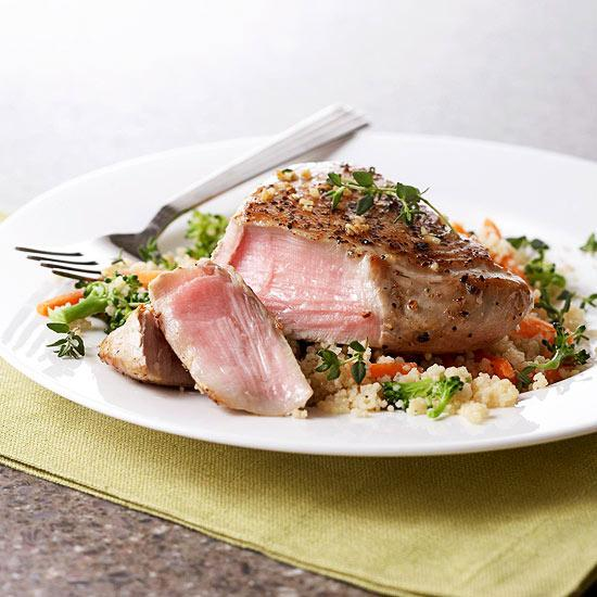 A savory-sweet combo of sauces punches up the flavor of the basic tuna steak.