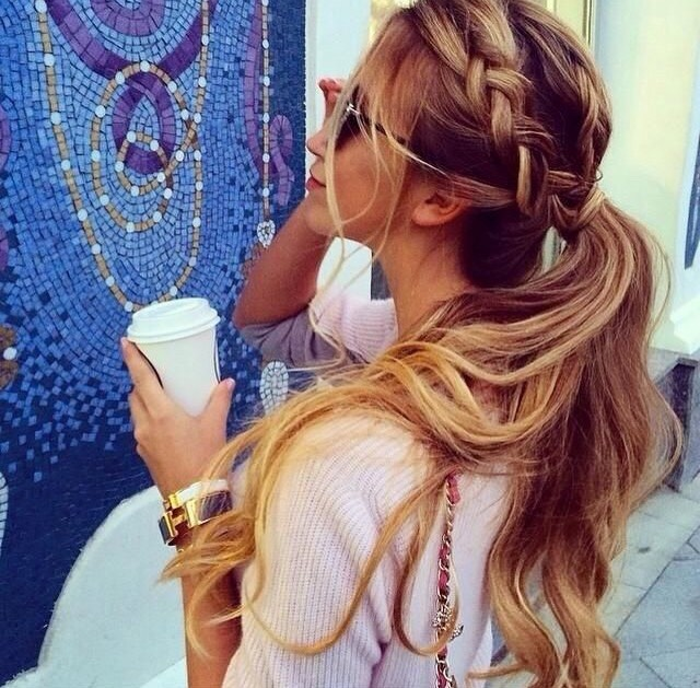Simple braid into ponytail • Take a top part of your hair about 2 inches wide and French braid it until you get to the back of your head. After you have braided, tie it off, make a pony tail, and add the braid.